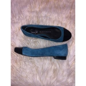 Franco Sarto Blue Suede Flat w/ Black Leather Toe